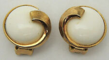 Vintage TRIFARI Round Clip On Earrings w/ White Plastic Beads Simple Gold Tone