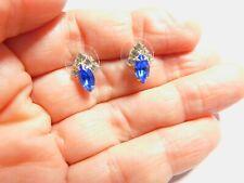 Clear Blue Marquise Rhinestone Silver Tone Metal Pierced Earrings Vintage