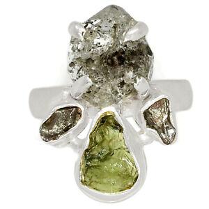 Herkimer Diamond & Moldavite 925 Silver Ring s.7 BR85025