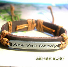 """Cool """"Are You Ready"""" Leather Fashion Surfer Biker Character Bracelet Wristband"""