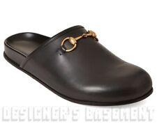 GUCCI men 8 black RIVER leather gold HORSEBIT Clogs mules shoes NIB Authent $680