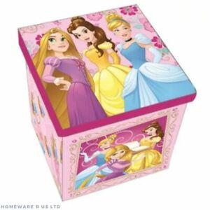 GIRLS CHILDRENS PINK CINDERELLA PRINCESS BEDROOM STORAGE STOOL TOY BOX OTTOMAN