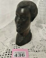 """Vintage African Art Wooden Bust Of Young Man Ebony 5.5"""" Tall Carving"""
