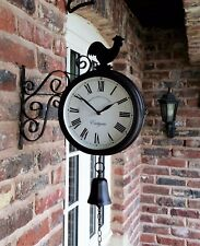 Cockerel Bell Outdoor double side Clock Garden Wall Outside Bracket Station 32cm