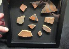 Very Rare Red Color Anasazi Pottery Shards Sherds w COA Arizona Framed