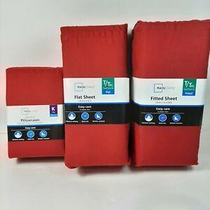 Mainstays Twin/TwinXL 300 TC Fitted & Flat Sheet & 2 Pk King Pillowcase Burgundy