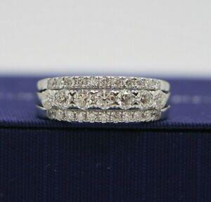 $7,500 Hearts On Fire 18K White Gold 1.50ct Aurora 7 Diamond 3 Row Wedding Band