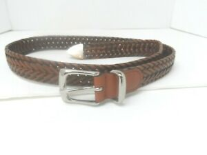 """Men's Leather Brown Braided Belt with Chrome Buckle 48"""" Long 1 1/4 Wide -VGC"""