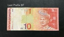 Malaysia - 9th RM10 Last Prefix BF | VF with minor stain