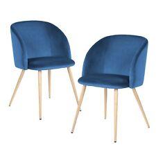 EGGREE Pack de 2 Sedoso Terciopelo Sillón salón en Estilo Retro Escandinavo azul