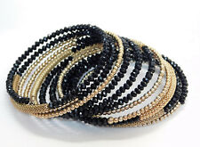 Expandable Wire Bracelet~Multi Gold Beads,Gold Accents,Faceted Black Cabochon