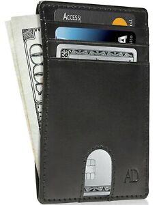 Vegan Leather Slim Minimalist Front Pocket Cardholder Wallets For Men RFID