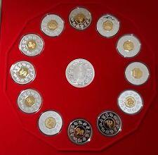 1998-2009 ROYAL CANADIAN MINT Lunar Series Silver Coin Set  Plush Case w/COAs