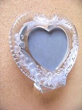 "heart shape glass picture frame shaped photo viewable area 4.75"" wide 4.25"" tall"