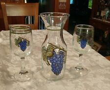 New listing 3pc Wine Glasses and Carafe Hand Painted ? Grapes ~ Beautiful!