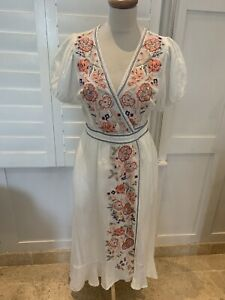 MABE FRANKIE FRILL OFF WHITE LINEN WRAP DRESS WITH FLORAL EMBROIDERY S Uk6-10