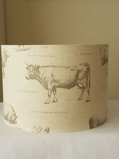 FABRIC DRUM LAMPSHADE 30cm FARM ANIMAL COW PIG SHEEP HEN COUNTRY COTTAGE FRYETTS