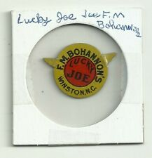 Vintage F.M. Bohannon's Lucky Joe Winston NC Tin Tobacco Tag