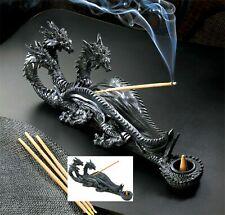 Sinister Triple-Head Dragon Incense Burner * Nib
