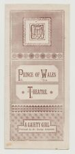 "ANTIQUE VICTORIAN ERA THEATRE PROGRAMME ""A Gaiety Girl"" Prince of Wales Theatre"