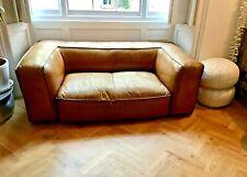 Timothy Oulton Scruffy Sofa - Thick Tan Leather 195cm L x 105cm Deep x 70cm H