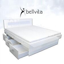 bellvita Wasserbett hochglanzweiß mit Softclose Schubladen + Bettumrandung