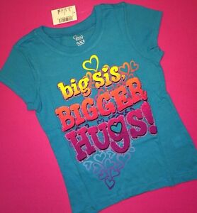 "*NEW! ""Big Sis Bigger Hugs!"" Girls Sister Graphic Shirt 4 xs 7-8 M 14 XL Gift!"