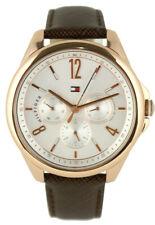 TOMMY HILFIGER Damen Armbanduhr Uhr Edelstahl Rosé Gold Leder Braun 1781823