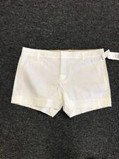 VINCE Shorts White Button Hook Closure Flat Front Cotton Blend NWT Sz 12 DD2865