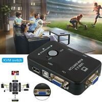 2 Port USB VGA KVM Box For Mouse Keyboard Monitor Sharing Computer PC