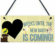 Countdown Chalkboard Weeks Until Baby Hanging Sign Baby Shower Pregnancy Gift