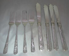Four SIlver Chinese Fish Knives & Forks Tien Shing? 280g A589516