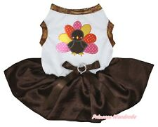 Thanksgiving Rainbow Turkey White Top Brown Satin Tutu Pet Cat Dog Puppy Dress