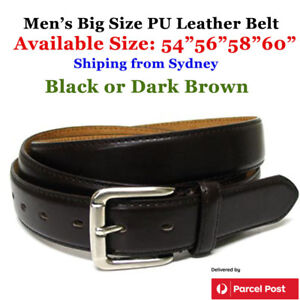 """Extra Large Men's Belt PU Leather 54""""~60"""" Quality Black/ Brown Stock from Sydney"""