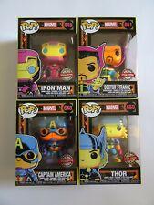 Set of 4 Funko POP Marvel Black Light: Iron Man, Captain America, Thor, Strange