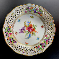 "Schumann Bavaria Germany Pierced/Reticulated Bowl 8.5"" Chateau Dresden Flowers"