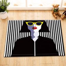 Stylish Woman Black & White Strips Home Floor Rug Nonslip Bathmat Bedroom Carpet