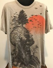 Vintage Style HUMAN Skull Flesh Abstract ARTWORK Sun JUNK FOOD Men's L T-Shirt