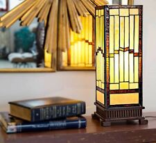 Stained Glass Table Lamp Mission Southwest Hurricane Shade Desk Tiffany Type 17""