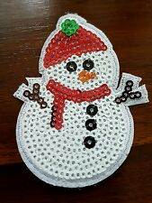 xmas tree sequin SANTA snowman merry christmas hotfix Sew on Applique Patch