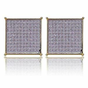 Men Hip Hop Brass 14k Gold Plated XL Square Flat Screen Screw Back Stud Earrings