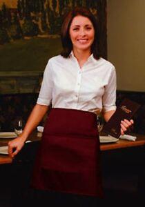 1 New  Burgundy Chef Server Waiter Waitress Half Bistro Apron 2 Pocket 19L x 28W