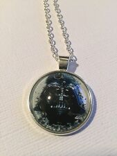 Vintage Pieces - Silver Necklace Glass Cameo - Star Wars Darth Vader