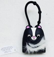 Bath Body Works Black Skunk White Furry Fur Pocketbac Holder Clip Case Sanitizer