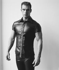 New Genuine leather shirt Short sleeves Fitted Tailored Front button Top Fetish