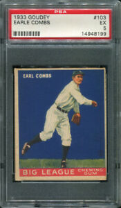 1933 GOUDEY #103 EARLE COMBS PSA 5 (8199)