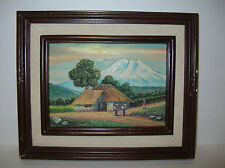 Chimborazo Volcano Vtg Folk Art Low Bas-Relief Carved Wood 3-D Painting