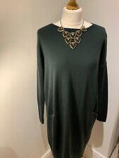 Hobbs Dark Olive Green Merino Wool Jumper Dress UK 10 Immaculate