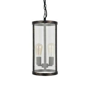 Tisbury Cylinder Mesh Lantern Style Industrial Gothic Pendant Light - Soho Li...