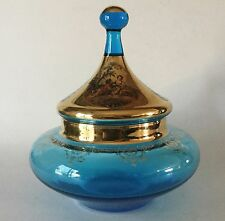 MCM Azure Blue & Gold Glass Covered Candy Bowl Powder Jar w/ Courting Scene
